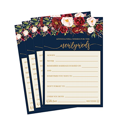 Wishes Well Book - 50 4x6 Navy Floral Wedding Advice & Well Wishes For The Bride and Groom Cards, Reception Wishing Guest Book Alternative, Bridal Shower Games Note Marriage Advice Bride To Be, Best Wishes For Mr & Mrs