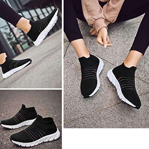 Camminata Nero Donna Scivolo Palestra Calzino Scarpe Lacci Sneakers Anti No p1CZnYqw