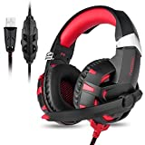 Gaming Headset,7.1 Channel Surround Stereo Sound USB Wired Over Ear Headphones with Noise Cancelling Microphone Separate Volume Control LED Light for PC Mac Laptop Computer(Black Red)