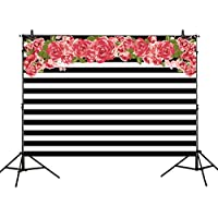 Allenjoy 7x5ft photography backdrops Black and white stripe red flower rose banner Birthday party wedding bridal shower graduation decoration photo studio booth background photocall