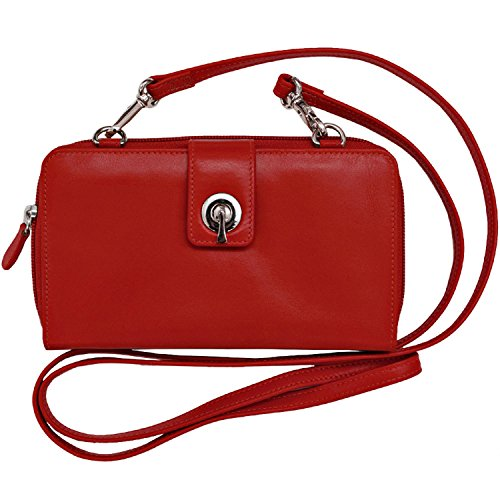 York Leather ili with Crossbody Red New 6365 Lining RFID Smartphone Blocking Wallet atUw5qU