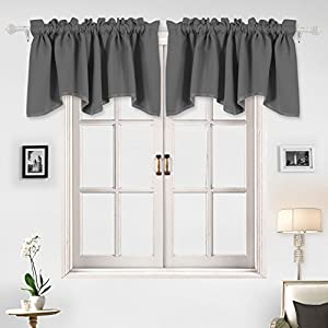 Deconovo Home Decorations Blackout Curtain Panels Blackout Valance  Scalloped Curtains Short Curtains For Bedroom 42 X 18 Inch Light Grey 1  Drape