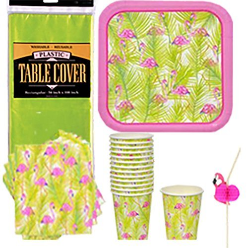 Luau Flamingo Disposable Dinnerware Party Supplies Kit Bundle - Summer Hawaiian Flamingo - Dinner Plates, Napkins, Cups, Flamingo Straws & Table Cover (Serves 14) by Combined (Grown Up Party Themes)