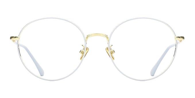 ebf3165d7489 TIJN Vintage Round Thin Rim Metal Frame Clear Lens Eyeglasses For Women