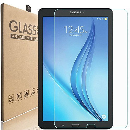 [2 pack] KIQ Premium Tempered Glass Screen Protector For Samsung Galaxy Tab E 9.6 SM-T560 [ Real GLASS, 9H Hardness, Anti-Scratch, Bubble-Free, Self-Adhering, Easy installation, 0.30mm Thickness]
