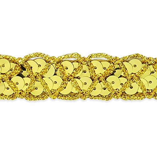Expo International Christina Braided Sequin Trim Embellishment, 20-Yard, Gold by Expo International Inc.