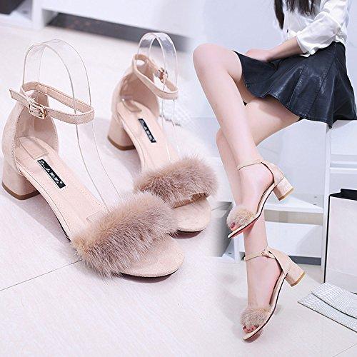 Porte Femmes Avec Chaussures Peluche paisses De Des 39 Heurtoirs Talon En Telles pais Lapin Plat Que Poil Sandales Pour 0XwZwdq