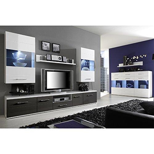 Wohnwand und Sideboard Set DUALOSA258 weiß / grau Hochglanz