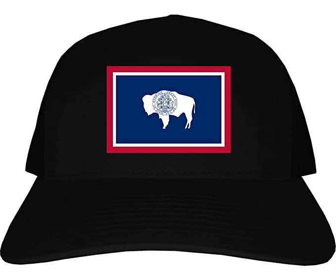 Kings Of NY Wyoming State Flag WY Mens Trucker Hat Cap Black