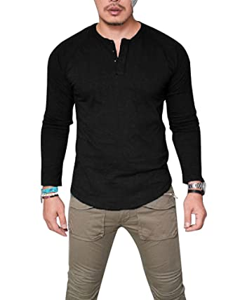 ae1f700c Huiyuzhi Men's V Neck Long Sleeve Button Muscle Tee T-Shirt Casual Tops  Blouse (