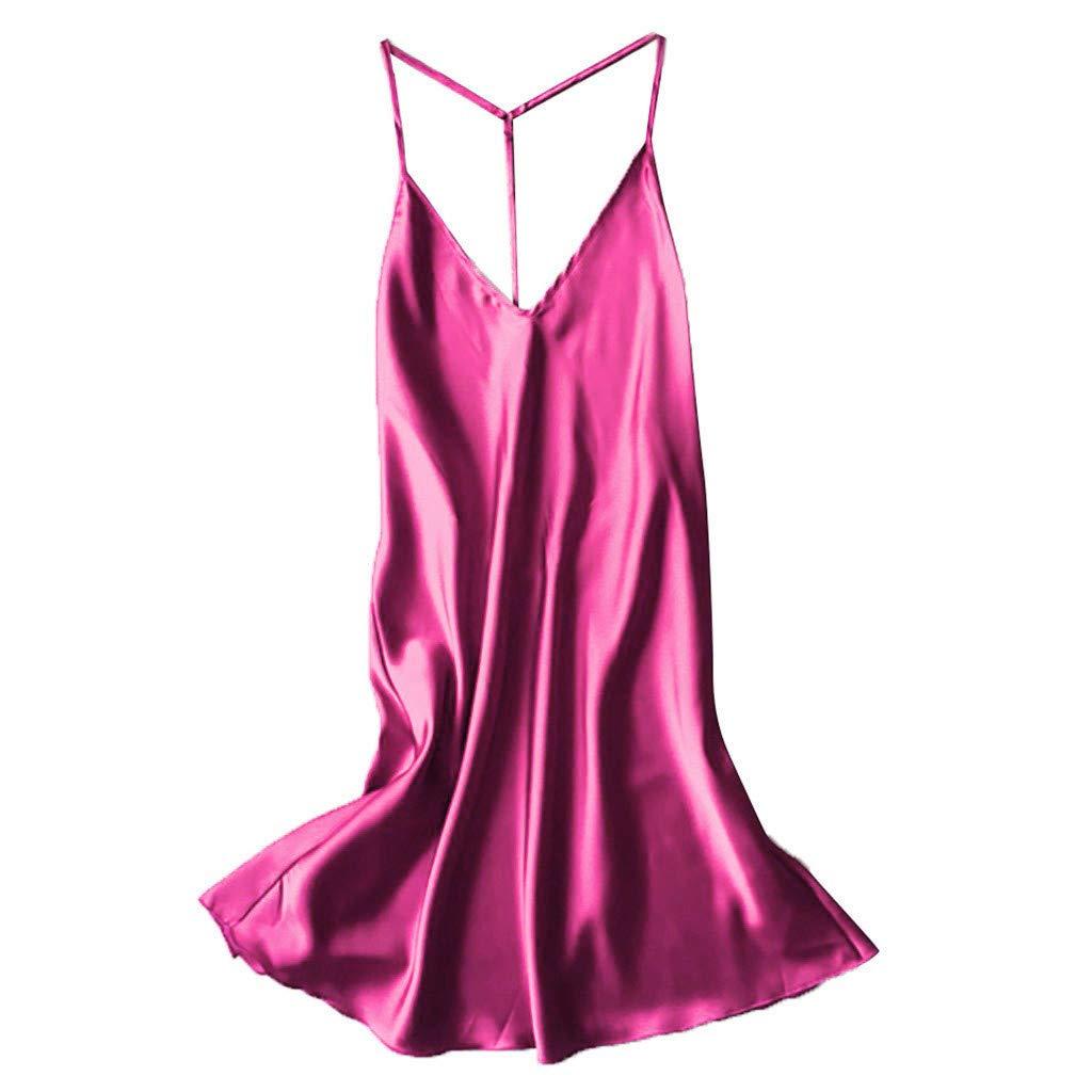 JFLYOU Women Sexy Pajamas Plus Size Satin Backless Sleepwear Babydoll Lingerie Nightdress(Hot Pink,XL)