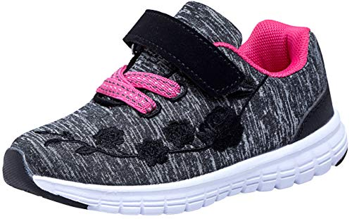 G GEERS Kids Girl's Fashion Sneakers Casual Sports Shoes (75 M US Toddler,Dk,Grey/Fuch)