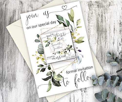 Rustic Save the date magnet - Fridge magnets with cards - Engagement announcement card with envelope - Greenery postcard invitations
