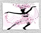 TAMMY CHAPPELL Latin Tapestry, Silhouette of a Woman Dancing Samba Salsa Latin Dances Spain and Mexico Culture Print, Wall Hanging for Bedroom Living Room Dorm, 80 W X 60 L Inches, Pink Black