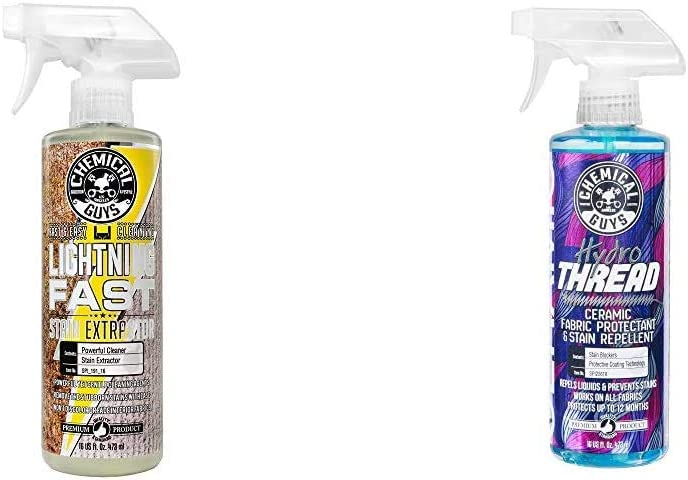 Chemical Guys Carpet & Upholstery Stain & Spot Remover and Ceramic Protectant Bundle with (1) 16 oz Lightning Fast Stain Extractor and (1) 16 oz HydroThread Ceramic Protectant