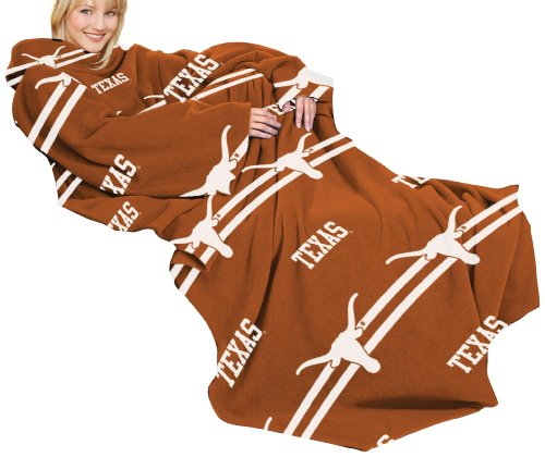 NCAA Texas Longhorns Comfy Throw Blanket with Sleeves, Stripes Design