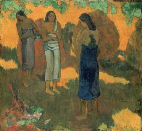 'Gauguin, Three Tahitian Women Against a Yellow Background' oil painting, 18x19 inch / 46x49 cm ,printed on polyster Canvas ,this Reproductions Art Decorative Prints on Canvas is perfectly suitalbe for Laundry Room artwork and Home decor and Gifts (Tahitian Yellow Bracelet)