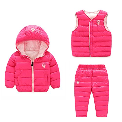 Baby Boy Girl Winter Puffer Snowsuit Down Hooded Jacket+Vest+Ski Pants Set Rose 100