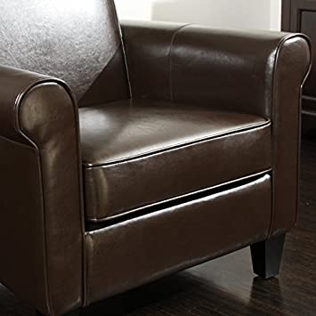 Great Deal Furniture Larkspur Leather Club Chair in Chocolate Brown