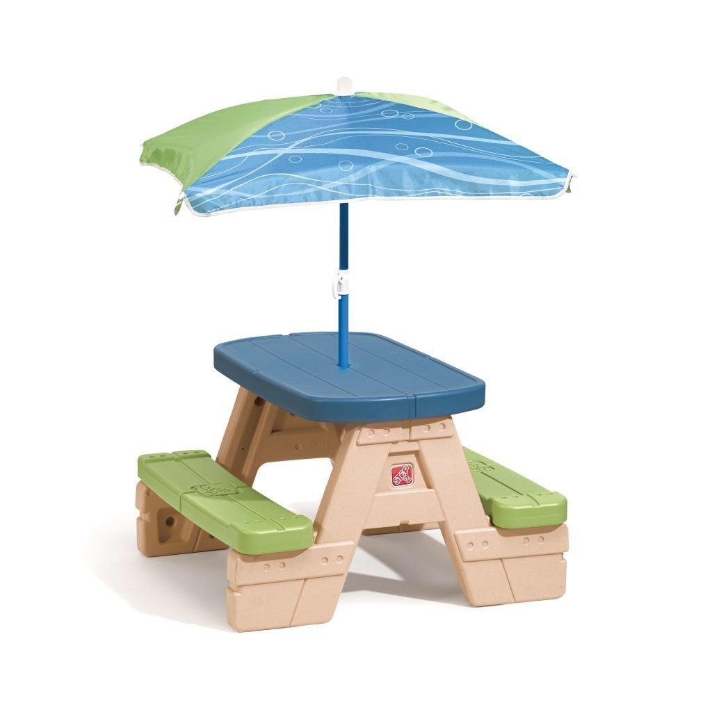 SSITG Kinder Picknicktisch mit Sonnenschirm Zusammenklappbar Kindersitzgruppe