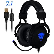 PC Gaming Headset ,AWON Professional 7.1 Channel Virtual USB Surround Stereo Earphones with 57mm Driver Wired Gaming Headset,Noise Isolating LED light,Gaming Headphone for PC,Laptop, Computer(Black)