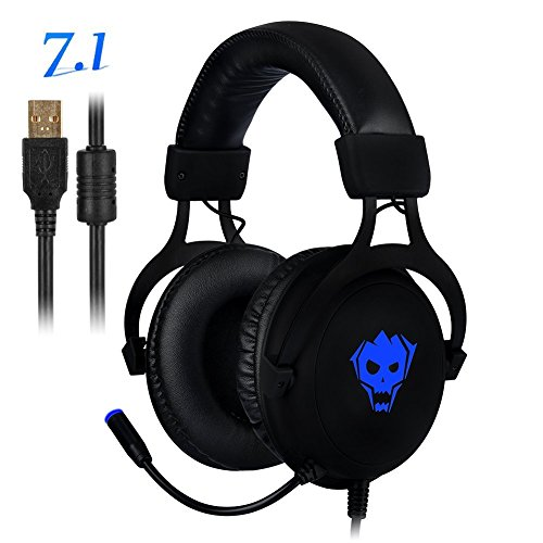 PC Gaming Headset,AWON Professional 7.1 Channel Virtual USB Surround Stereo Earphones with 57mm Driver Wired Gaming Headset,Noise Isolating LED Light,Gaming Headphone for PC,Laptop, Computer(Black) by Awon (Image #7)