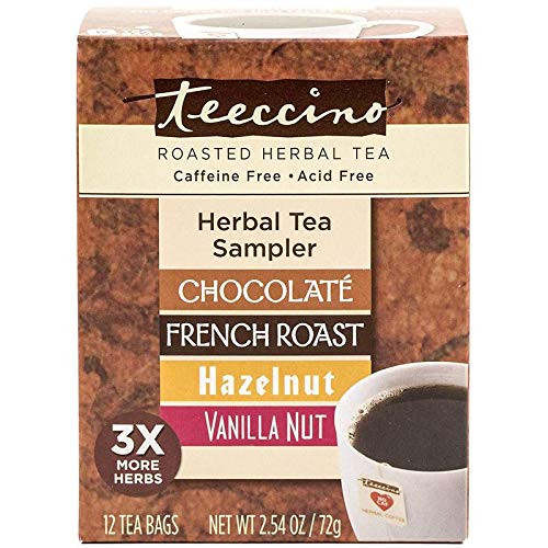 Teeccino Chicory Roasted Herbal Tea Classic Sampler Pack (French Roast, Hazelnut, Vanilla Nut and Chocolaté), Caffeine Free, Acid Free, Coffee Substitute, Prebiotic, 12 Tea Bags