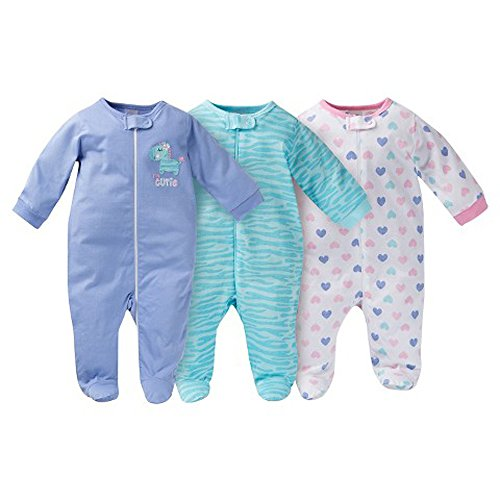Gerber Onesies Baby Girl Sleep N Play Sleepers 3 Pack Zebra Size 6-9 Months