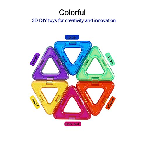 Magnetic Blocks, Magnetic Building Blocks||Magnetic Construction||Magnetic Toys||Children Educational Toys - Colorful 3D DIY toys for creativity and innovation with Instraction Booklet and Storage Box