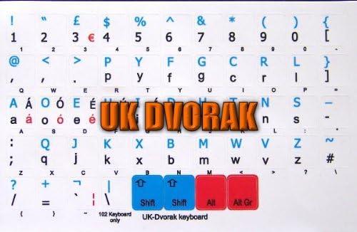 DVORAK UK NON-TRANSPARENT KEYBOARD STICKERS WHITE BACKGROUND