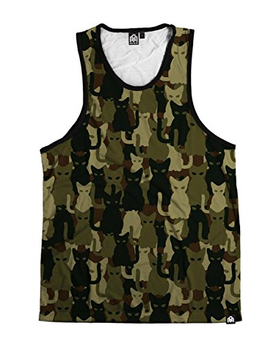 INTO THE AM Camo Cats Premium All Over Print Halloween Tank Top (Small)