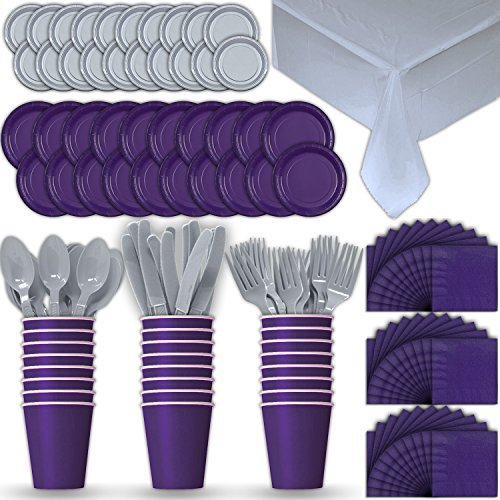 Paper Tableware Set for 24 - Purple & Silver - Dinner and Dessert Plates, Cups, Napkins, Cutlery (Spoons, Forks, Knives), and Tablecloths - Full Two-Tone Party Supplies Pack (Plate Silver Tone)