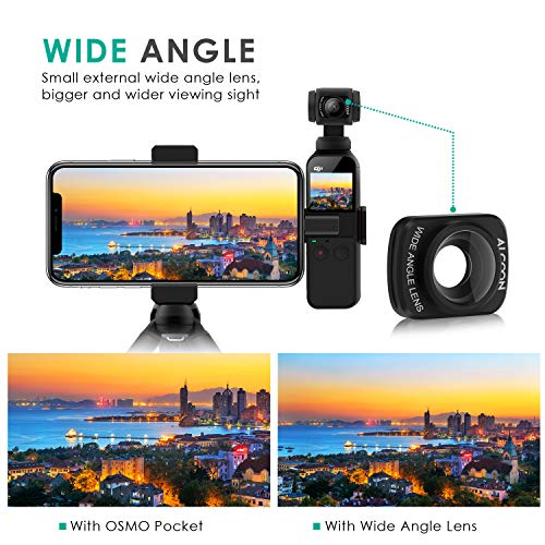 Aboom 0.6X HD Wide Angle Lens/ for Osmo Pocket Accessories Expand The Field of View Vlog and YouTube Studio Photography