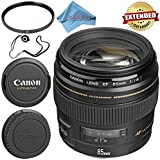 Canon EF 85mm f/1.8 USM Lens 2519A003 + 58mm UV Filter + Fibercloth + Lens Capkeeper Bundle