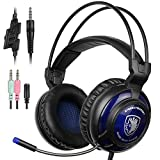 Sades SA-805 PS4 Gaming Headset Surround Stereo PlayStation 4 Over Ear Headphones with Mic for Multi-Platform New Xbox One/PC/PS4 with Volume Control Noise Canceling Black Blue