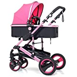 High Landscape Pram Travel System 3 in 1 Stroller Buggy Two-Way Baby Pushchair Foldable Height-Adjustable Strollers & Buggies (Color : Pink, Size : 34.2524.0142.91inch)
