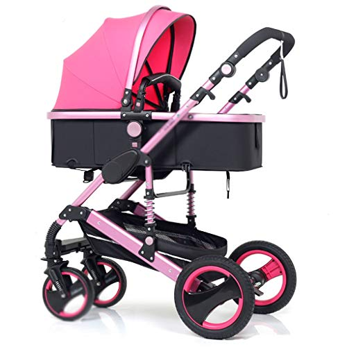 Comfortable Pushchair High Landscape Pram Travel System 3 in 1 Stroller Buggy Two-Way Baby Pushchair Foldable Height-Adjustable Strollers & Buggies (Color : Pink, Size : 34.2524.0142.91inch)