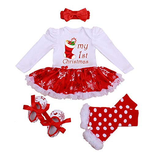 Newborn Baby Girls Christmas Romper Tutu Dress Outfit Headband Leg Warmer Shoes -