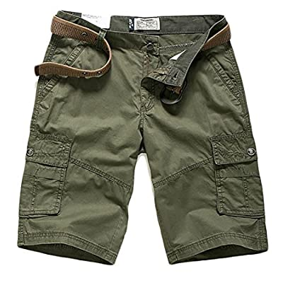 Cheap Papijam Mens Straight Leg Multi-Pocket Casual Cimfort Cargo Shorts for sale