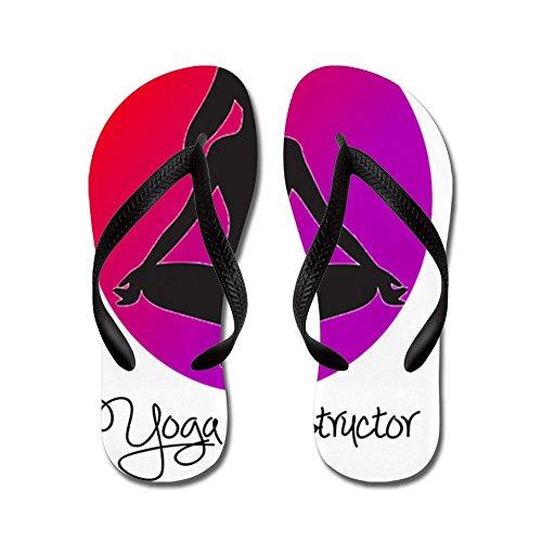 Cafepress Yogainstruktör 3 - Flip Flops, Roliga Rem Sandaler, Strand Sandaler Svart