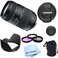 Tamron AF 70-300mm f/4.0-5.6 Di LD Macro Zoom Lens Bundle for Canon Digital SLR Cameras (Model A17E) - International Version (No Warranty)