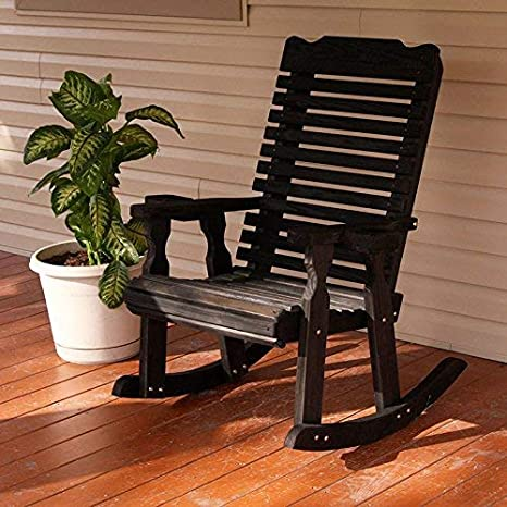 Cedar Stain Amish Heavy Duty 600 Lb Classic Pressure Treated Rocking Chair with Cupholders