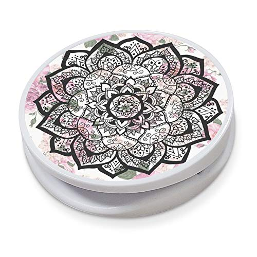 Collapsible Expanding Grip Kickstand for Phone and Tablets Mandala Pink Rose