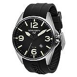 Torgoen T10 Black Pilot Watch | 45mm - Black Silicone Strap