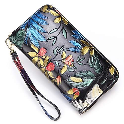 Hand Wallet Painted Flower Leather (Heiye Women Leather Wallet Hand Painted Flowers Ladies Wristlet Wrist strap (B-black))