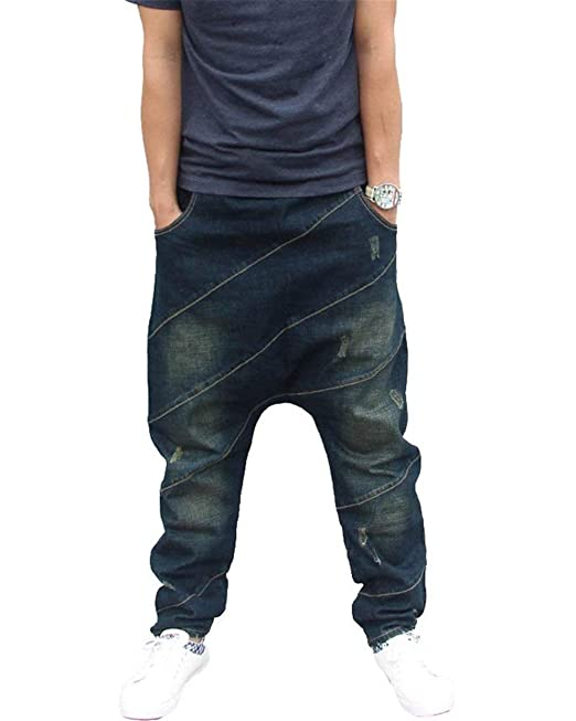 Jeans Larghi da Uomo Stile Hip-Hop Hip-Hop in Jeans Lavati Slim Fit con  Pantaloni Denim Vintage  Amazon.it  Abbigliamento 0fae09236f2b
