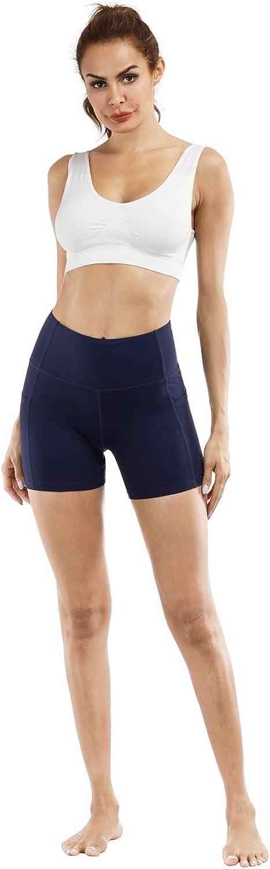 Tsuretobe Yoga Shorts for Women High Waisted Workout Running Shorts Tummy Control Yoga Pants with Pockets