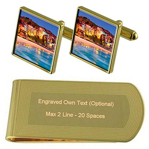 Set Gift Bondi Beach Clip Engraved Cufflinks Money Gold tone 0Zn7g8wzq