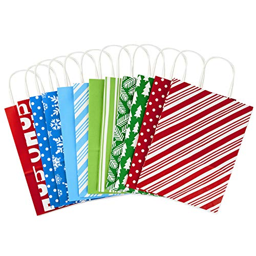 Hallmark Large Holiday Gift Bag Assortment, Holiday Icons (12 Paper Gift Bags in Assorted Designs for Hanukkah or Christmas Gifts | Stripes, Polka Dots, Snowflakes, Christmas Trees)
