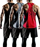 TSLA Men's 3 Pack Workout Muscle Tank Sleeveless Racer Y-Back Gym Training Cool